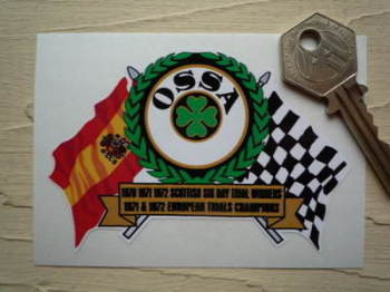"OSSA Flag & Scroll Sticker. 3.75""."