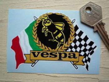 "Vespa Flag & Scroll Sticker. 4"" or 6""."