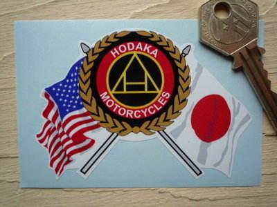 "Hodaka Motorcycles Flag & Scroll Sticker. 3.75""."