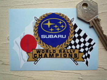 "Subaru World Rally Champions Flag & Scroll Sticker. 3.75""."
