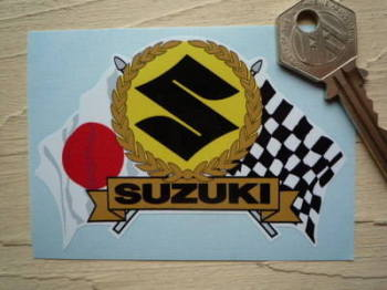 "Suzuki Flag & Scroll Sticker. 3.75""."