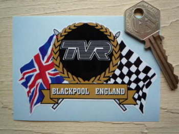 "TVR Flag & Scroll Sticker. 3.75""."
