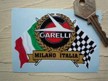 "Garelli Flag & Scroll Sticker. 3.75""."