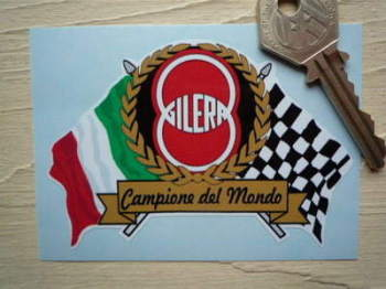 "Gilera Flag & Scroll Sticker. 3.75""."