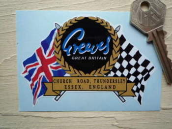 "Greeves Flag & Scroll Sticker. 3.75""."
