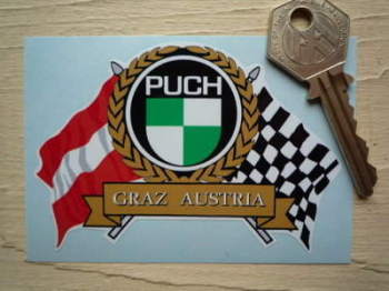 "Puch Flag & Scroll Sticker. 3.75""."
