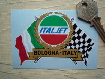 "Italjet Flag & Scroll Sticker. 3.75""."