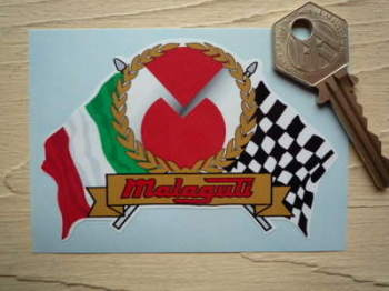 "Malaguti Flag & Scroll Sticker. 3.75""."