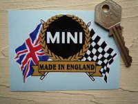 "Mini 'Made In England' Flag & Scroll Sticker. 3.75""."
