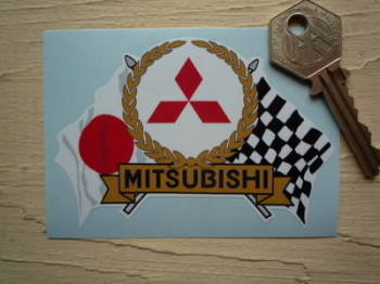 "Mitsubishi Flag & Scroll Sticker. 3.75""."