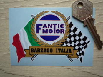 "Fantic Motor Flag & Scroll Sticker. 3.75""."