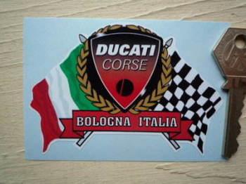 """Ducati Corse Flag & Scroll Sticker. 4""""."""