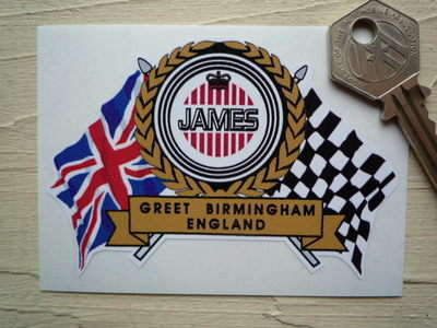 "James Flag & Scroll Sticker. 3.75""."
