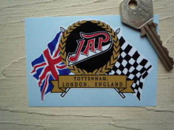 "JAP Flag & Scroll Sticker. 3.75""."