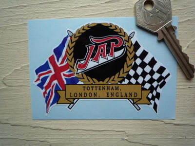 "JAP Flag & Scroll Sticker. 3.75""."