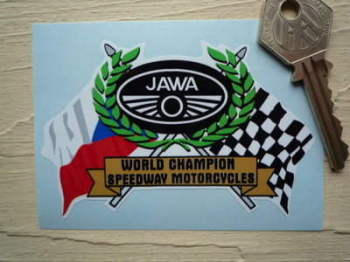 "Jawa Speedway Flag & Scroll Sticker. 3.75""."