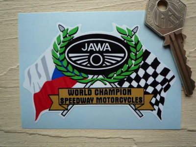 "Jawa Speedway Flag & Scroll Sticker. 3.75""."