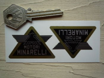 "Motori Minarelli Black Winged Triangle Stickers. 2"" Pair."