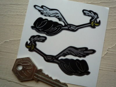 "Road Runner Running Black & Silver Stickers. 3"" Pair."