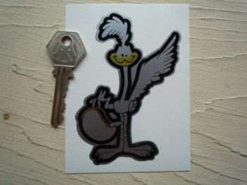 "Road Runner with Helmet Black & Silver Sticker. 4""."