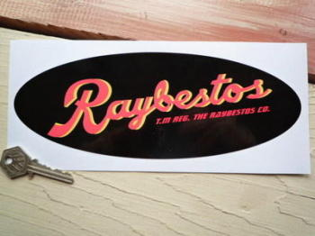 "Raybestos Brakes Black Oval Sticker. 9.5""."