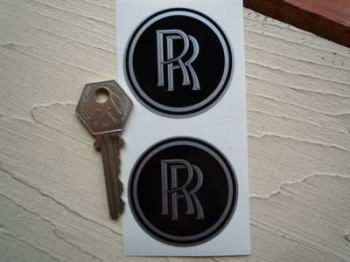 Rolls Royce RR Black Wheel Centre Style Stickers. 50mm Pair.