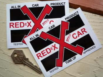 "RedEx Your Car X Stickers. 4"" Pair."