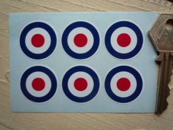 "RAF Roundel Stickers. Set of 6. 1""."