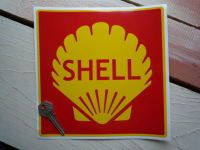 "Shell Red Square Sticker. 8"" or 8.5""."