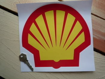 "Shell Modern Logo Sticker. 8.5""."