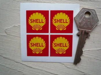 Shell Red Square Close Cut Stickers. Set of 4. 25mm.