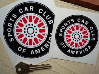 "SCCA Red Middle Wheel Stickers. 3"" or 4"" Pair."