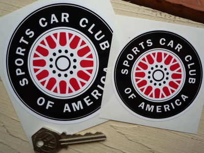 """SCCA Red Middle Wheel Stickers. 3"""" or 4"""" Pair."""