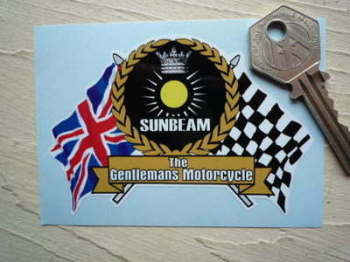 "Sunbeam Motorcycle Flag & Scroll Sticker. 3.75""."