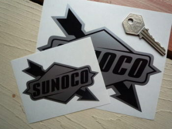 "Sunoco Later Style Black & Silver Stickers. 4"" or 6"" Pair."