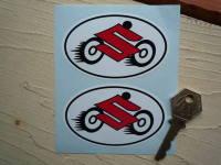 """Suzuki with Wheels Oval Stickers. 3"""" Pair."""