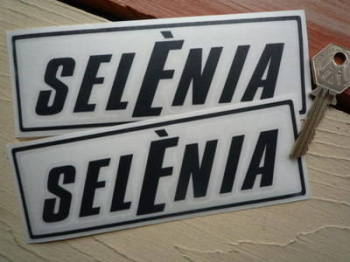 "Selenia Motor Oil Cut Text Stickers. 6"" Pair."
