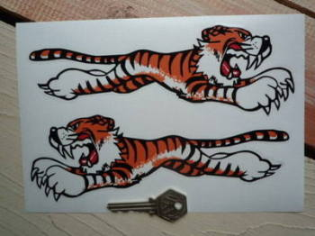 "Leaping Tiger Stickers. Clear. 8"" Pair."