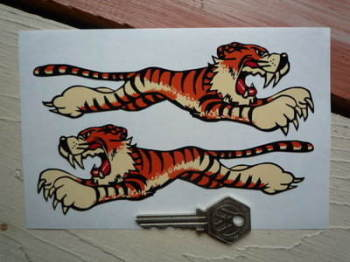 "Leaping Tiger Stickers. Cream. 4"", 6"", or 8"" Pair."