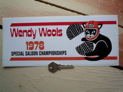 "Wendy Wools Special Saloon Championships Sponsor Sticker. Various Years. 11""."