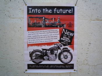 """Royal Enfield Into The Future Art Banner. 18"""" x 25""""."""