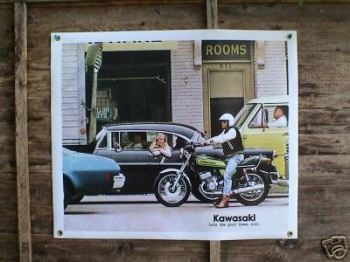 "Kawasaki H2 Let The Good Times Roll Banner Art. 36"" x 30""."