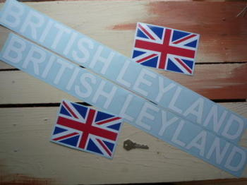 "British Leyland Cut Text & Union Jack Stickers. 26"" + 6"" Pair."