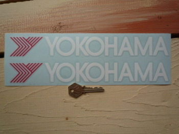 "Yokohama Cut Text & Red Y Stickers. 11"" Pair."