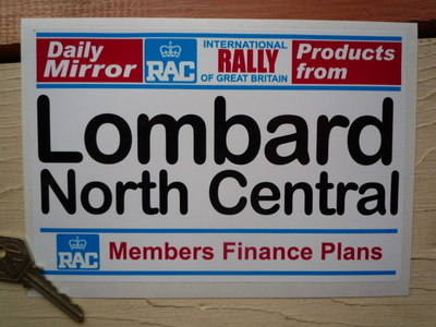 "Lombard North Central RAC & Daily Mirror Rally Plate. 8""."