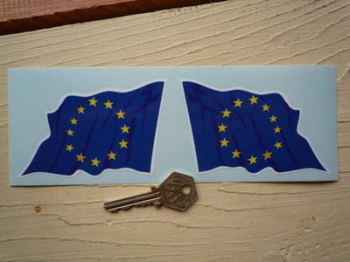 "European Union EU Wavy Flag Stickers. 2"" or 4"" Pair."