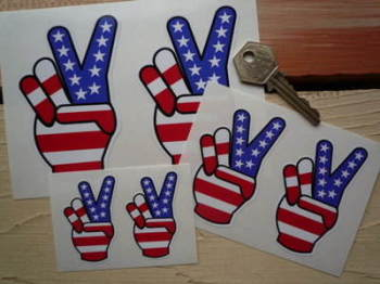 "USA Stars & Stripes Peace Fingers Stickers. 2"", 3"" or 4"" Pair."