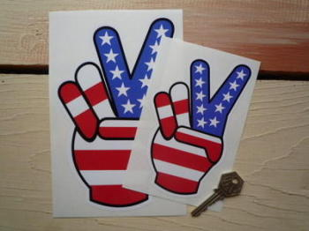 "USA Stars & Stripes Peace Fingers Sticker. 6"" or 8""."