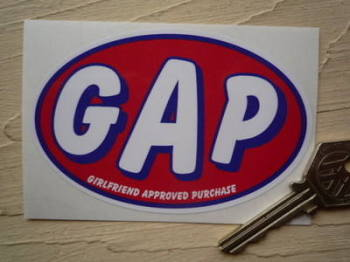 "G.A.P Girlfriend Approved Purchase Humorous Car or Bike Sticker. 4""."