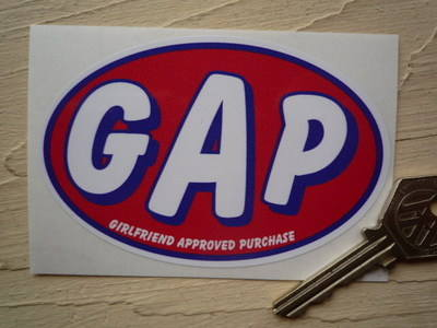 """G.A.P Girlfriend Approved Purchase Humorous Car or Bike Sticker. 4""""."""